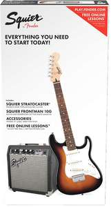 Squier Strat SS Pack Stratocaster Electric Guitar Pack with Amplifier - Short Scale (Brown Sunburst) - Cover