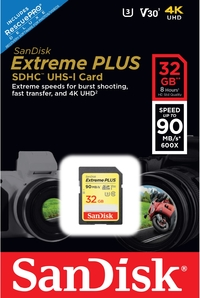 Sandisk Extreme Plus SDHC 32 GB Class 10 UHS-I V30 Card - Cover