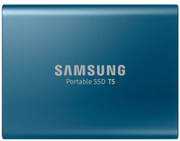 Samsung - T5 250GB Portable Solid State Drive - Blue - Cover