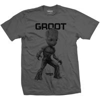 Guardians of the Galaxy - Groot Mono Mens Charcoal T-Shirt (XX-Large)