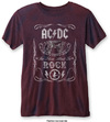 AC/DC - Cannon Swig Mens Burnout Navy/Red T-Shirt (Small)