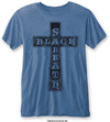 Black Sabbath - Vintage Cross Mens Burnout Mid Blue T-Shirt (Small)
