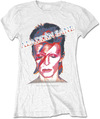 David Bowie - Aladdin Sane Ladies White T-Shirt (Large)