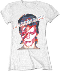David Bowie - Aladdin Sane Ladies White T-Shirt (Small) - Cover