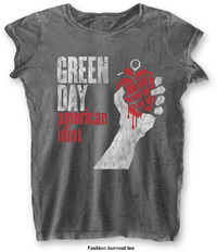 Green Day - American Idiot Vintage Ladies Burnout Charcoal T-Shirt (X-Small) - Cover