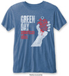 Green Day - American Idiot Vintage Mens Burnout Mid Blue T-Shirt (Small)