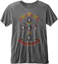 Guns N Roses - Appetite For Destruction Mens Charcoal Burnout T-Shirt (Large) - Cover