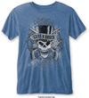 Guns N Roses - Faded Skull Mens Burnout Mid Blue T-Shirt (Small)