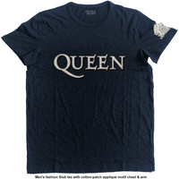 Queen - Logo & Crest Applique Slub Mens Navy T-Shirt (Medium) - Cover