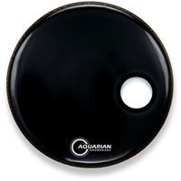 Aquarian Ported Bass Series 22 Inch Ported Bass 4 3/4 Inch Offset Hole Video Gloss Black Bass Drum Resonator Drum Head