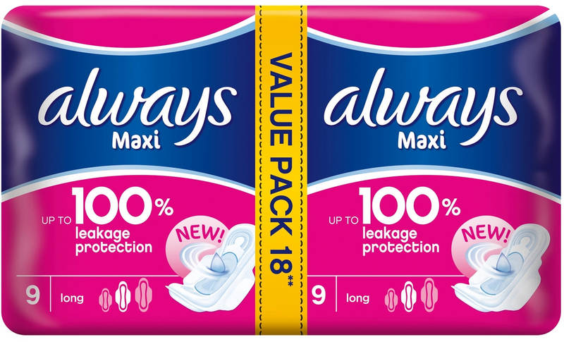 Always - Maxi Thick Super Plus Duo Pads Economy Pack (18s)