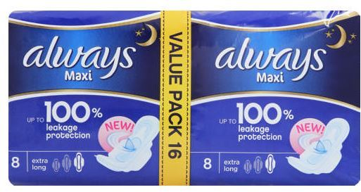 Always - Maxi Night Extra Long Duo Pads Economy Pack (16s)