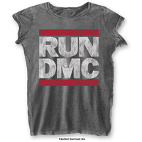 Run DMC Ladies Fashion Tee: DMC Logo with Burn Out Finishing (Small) - Cover