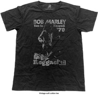 Bob Marley - Hawaii Vintage Mens Black T-Shirt (Medium) - Cover