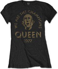Queen - We Are the Champions Ladies Black T-Shirt (Medium) - Cover
