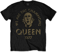 Queen - We Are the Champions Mens Black T-Shirt (Medium) - Cover
