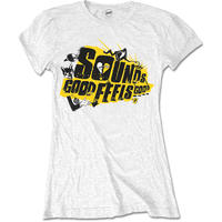 5 Seconds of Summer Ladies Tee: Sounds Good Album with Back Printing & Skinng Fitting (Large)