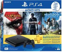 Sony PlayStation 4 Slim 500GB Console (Includes Horizon Zero Dawn, Uncharted 4, God of War Remastered + 3 Months PSN) - Cover