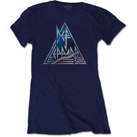 Def Leppard Triangle Logo Ladies Navy T-Shirt (Small) - Cover
