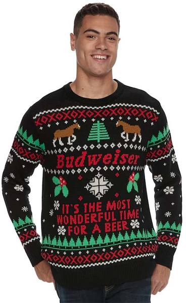 Budweiser Most Wonderful Time For Beer Xmas Black Ugly Christmas