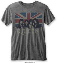Queen Vintage Union Jack Mens Burnout Charcoal T-Shirt (Large) - Cover