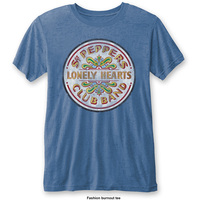 The Beatles Sgt Pepper Drum Mens Burnout Mid Blue T-Shirt (Small) - Cover