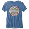 The Beatles Sgt Pepper Drum Mens Burnout Mid Blue T-Shirt (Small)
