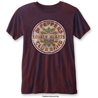 The Beatles Sgt Pepper Drum Mens Burnout Navy/Red T-Shirt (Small) - Cover