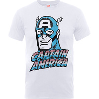 Captain America Distressed Head Boys White T-Shirt (12 - 13 Years) - Cover