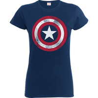 Captain America Distressed Shield Boys Navy T-Shirt (12 - 13 Years) - Cover
