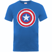 Captain America Distressed Shield Boys Royal Blue T-Shirt (12 - 13 Years) - Cover