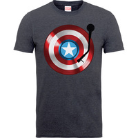 Captain America 75th Captains Record Boys Charcoal Grey  T-Shirt (5 - 6 Years) - Cover