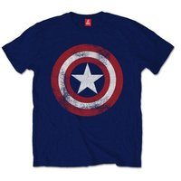 Captain America Distressed Shield  Mens Navy T-Shirt (XX-Large) - Cover