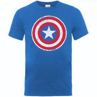 Captain America Distressed Shield Boys Royal Blue T-Shirt (7 - 8 Years) - Cover