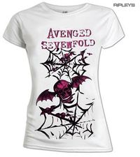 Avenged Sevefold Bat Skull Webs Ladies T-Shirt (X-Large) - Cover