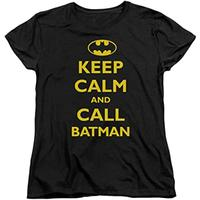 Keep Calm and Call BATMAN Women's Black T-Shirt (Small)