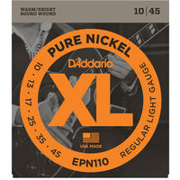 D'Addario EPN110 10-45 Pure Nickel Regular Light Electric Guitar Strings