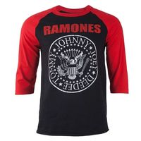 Ramones Seal Logo Mens Long Sleeve Black / Red Raglan T-Shirt (Medium) - Cover