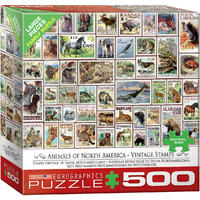Eurographics Puzzle 500 Pieces - Vintage Stamps - North America