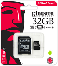 Kingston Technology - Canvas Select 32GB microSD Memory Card with SD adapter