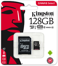 Kingston Technology - Canvas Select 128GB microSD Memory Card with SD adapter