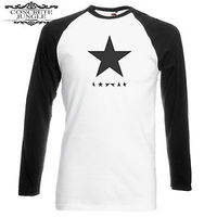 David Bowie Blackstar Black/White Mens Raglan Sleeve T-Shirt (X-Large) - Cover