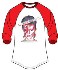 David Bowie - Face Red/White Men's Raglan T-Shirt (Large) - Cover