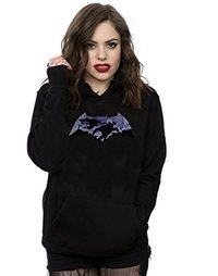 DC Comics Batman V Superman Battle Silhouette Ladies Black Pullover Hoodie (Large) - Cover