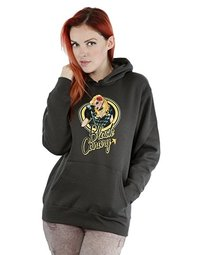 DC Comics Bombshells Black Canary Badge Ladies Charcoal Hoodie (X-Small) - Cover