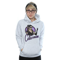 DC Comics Bombshells Catwoman Badge Ladies Grey Pullover Hoodie (X-Large) - Cover