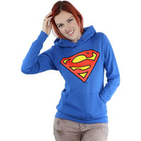 DC Comics Superman Logo Ladies Blue Pullover Hoodie (X-Small) - Cover