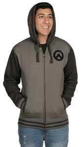 Overwatch - Founding Member Varsity Zip-up Hoodie - Charcoal Heather (X-Large) - Cover