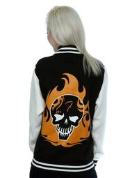 DC Comics  Suicide Squad El Diablo Icon Ladies Black/White Varsity Jacket (Small) - Cover