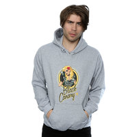 DC Comics Bombshells Black Canary Badge Men's Grey Pullover Hoodie (Small) - Cover